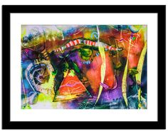 Natural Bright Spring Colors - Red Yellow Green - Fine art original expressionist painting, Wall Decor Original Watercolor Pastel Artwork