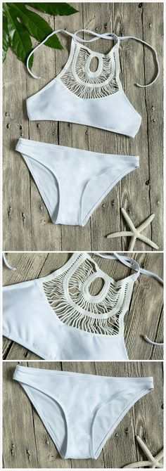 The swimwear is made from polyester and spandex with hollow out, spaghetti strap, two piece.Oasap.com