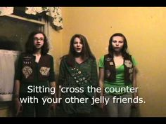 Learn the lyrics and tune to the Peanut Butter Jelly Song- a classic Girl Scout camp song!