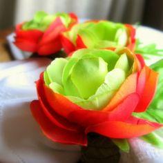 Garden Tea Party  Fiery Buttercup  napkin rings 6 by zimka, $26.00