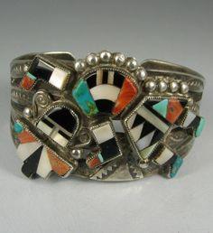 Vintage Wide Zuni Mosaic Inlay Rainbowman Bracelet