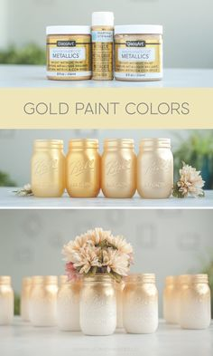 Mason Jar Crafts – How To Chalk Paint Your Mason Jars - Estabul Pot Mason Diy, Mason Jar Crafts, Bottle Crafts, Crafts With Jars, Gold Paint Colors, Spray Paint Colors, Rose Gold Painting, Gold Acrylic Paint, Best Gold Spray Paint