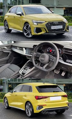 This stunning Audi S3 Sportback definitely looks the part as it comes fitted with the beautiful additional 19in 5 arm trapezoid design alloy wheels with the additional red brake calipers really standing out against the Python yellow paint finish, privacy glass to both the rear and rear side windows, Audi Matrix LED headlights using a top of the range LED technology to light the road ensuring that you do have maximum visibility on any journeys and Audi beam front puddle illumination. Audi Cars, Audi Tt, Pretty Cars, Pretty In Pink, Hatchback Cars, Privacy Glass, Side Window, City Car, Audi A3 Sportback