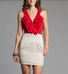 Beige/ Red Ruffled Short Dress