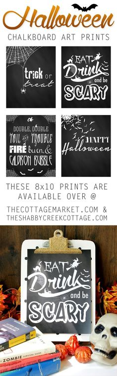 Four free printable Halloween Chalkboard art set. Fun way to decorate for Halloween on a budget!