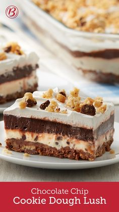 Chocolate chip cookie lovers, get ready — this is the ultimate dessert for you! We started with a chocolate chip cookie crust and topped it with three indulgent layers of cookie dough cream, chocolate pudding and Cool Whip™ for a cool, craveable dessert.