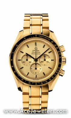 "Omega Speedmaster Apollo XI Gold. Circa 1980. Numbered edition. Special engraving ""First watch worn on the moon - Speedmaster - Apollo XI - No A 0001"". Reference number BA 345.0802."