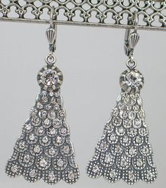Catherine Popesco  NWT  Silver Peacock Fan  Earrings Clear Swarovski Crystals - http://designerjewelrygalleria.com/catherine-popesco/catherine-popesco-nwt-silver-peacock-fan-earrings-clear-swarovski-crystals/