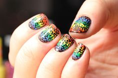 Nails inspired by a rainbow field of tulips