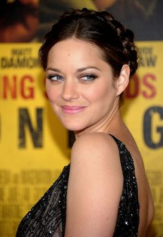 Red carpet hairstyle. Braided updo - Marion Cotillard. Celebrity hairstyle.