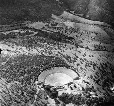"""""""Panoramic view of Epidavros ancient theatre Ancient Greek Theatre, Aerial View, Location History, The Past, Twitter, Temples, Teacher, Memories, Memoirs"""