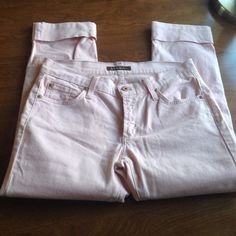 """James Jeans pink crop Super cute cuffed crop jeans in a sweet shade of light pink. 15"""" across waist flat. 8"""" rise. 23"""" inseam. 6.75"""" leg opening. 2% spandex James Jeans Jeans Ankle & Cropped"""