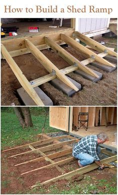 How to build a shed ramp is something to consider before even starting to build your backyard storage shed. A proper shed ramp is essential. Start building amazing sheds the easierway with a collection of shed plans! Backyard Storage Sheds, Storage Shed Plans, Backyard Sheds, Storage Ideas, Workshop Storage, Garden Sheds, Storage Shed Landscaping Ideas, Garden Tools, Barn Storage