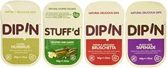 DipIn Natural Dips Variety (Pack of 12) Dips Featured: Classic Hummus, Black Olive Tapenade, Pepper & Artichoke Bruschetta, and Stuffed Vine Leaves Variety Pack Includes 3 (1.42oz) Container of Each Kind Natural and Gluten Free Dips - Shelf Stable, No Refrigeration Needed and Preservative Free Great for On the Go Snacking or Lunchboxes!