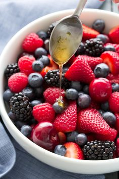 Everyone loves this easy and healthy recipe for Very Berry Summer Fruit Salad with light honey lime dressing! With berries and fresh cherries! Dressing For Fruit Salad, Best Fruit Salad, Summer Salads With Fruit, Berry Salad, Fruit Salad Recipes, Fresh Fruit, Berry Berry, Honey Lime Dressing, Summer Side Dishes