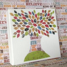 Christian Tree Art // 6x6 inch canvas by The1500TreeProject, $25.00 I love the idea of partnering w/this cute family in their adoption by buying a cute lil crafty tree!! So doing this!!