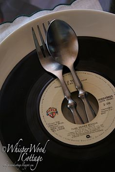 WhisperWood Cottage: 4 Tablescape Ideas for Vinyl Records...Vote for Iron Crafter!