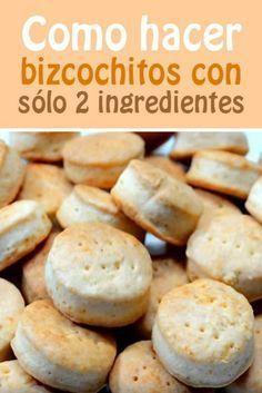Como hacer bizcochitos con sólo 2 ingredientes + harina 200 gr, + crema de leche 200 gr. Mexican Bread, Pan Dulce, Tasty, Yummy Food, Pan Bread, Sin Gluten, Cookies, Mexican Food Recipes, Donuts