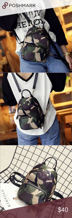 """New Item✨Camouflage """"Mini"""" Backpack✨ ✨ Material: Nylon ✨ Lining: Polyester ✨ Alloy, Gold Plated Accents   Plase note Size Measurements this a small backpack   ✨ Any Questions- please ASK!   PRICE IS FIRM- already listed at lowest price  If you want to save please look into bundling  No Trades Will ship within 24- 48 hours Monday-Friday  Please -NO- Offers on items priced $10 and under AND ON SALE ITEMS‼️  Serious Inquiries Only❣️ Bags Backpacks"""
