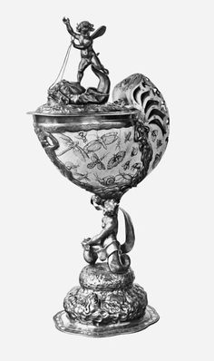Nautilus cup with coat of arms of abbot Aleksander Kęsowski by Andreas I Mackensen in Gdańsk (mounting) and Jean Bellekin in Amsterdam (engraving), 1643-1667, Museum of Decorative Arts in Berlin. © Marcin Latka #fragment #nautilus #cup #abbot #aleksanderkesowski #andreasmackensen #gdansk #mounting #jeanbellekin #amsterdam #engraving #artinpl #museum #decorative #berlin #gilt #insects #oliwa Coat Of Arms, Art Decor, Statue, Lithuania, Poland, Nautilus, Middle Ages, Renaissance, Amsterdam
