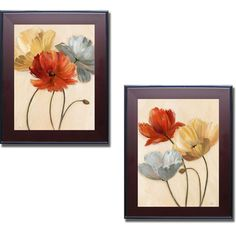 Nan 'Poppy Palette I and II' Framed 2-piece Canvas Set - Overstock™ Shopping - Top Rated Prints