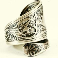 Florentine Bird Victorian Spoon Ring in Sterling by Spoonier, $72.00