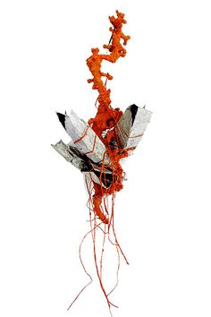 Adam Grinovich - brooch Stacks/Structures #3: Growth 2 2008.  Iron, enamel, grape stem, brick, pigment, thread