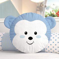 Almofada Redonda Amiguinho Macaco Azul 30cm Cute Pillows, Baby Pillows, Kids Pillows, Fabric Toys, Fabric Crafts, Handmade Pillows, Decorative Pillows, Bebe Born, Pillow Crafts