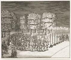 Optocht met fakkels en muziek door de bedienden van de Portugese ambassadeur en onderhandelaar over de Vrede van Utrecht, de graaf van Tarouca, op de Maliebaan bij avond op 13 juli 1714. Tot slot van de feestelijkheden werden kanonschoten afgevuurd.