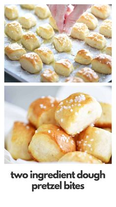 Two Ingredient Dough Pretzel Bites are SUPER EASY to make with no yeast and no waiting for the dough to rise. Just mix the dough, cut nuggets, dip in baking soda water and bake! # Food and Drink homemade Two Ingredient Dough Pretzel Bites - The Gunny Sack Appetizer Recipes, Snack Recipes, Dessert Recipes, Appetizers, Desserts, Ww Recipes, Baking Recipes, Bread Recipes, Cake Recipes