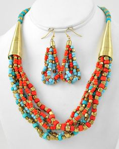 Burnished Gold Tone / Turquoise & Coral Acrylic Bead / Lead Compliant / Multi Strand / Necklace & Fish Hook Earring Set