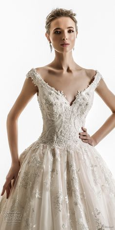 jillian 2018 bridal off the shoulder cap sleeves sweetheart neckline heavily embellished bodice princess ball gown wedding dress corset back chapel train (10) zv -- Jillian 2018 Wedding Dresses