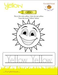 Check out our #Pumpkinheads #Worksheets for the #classroom and at #home! This one is the color yellow. Download the full PDF by clicking on the image.