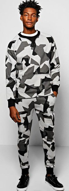 Skinny Fit Geo Camo Sweat Tracksuit - Loungewear  - Street Style, Fashion Looks And Outfit Ideas For Spring And Summer 2017