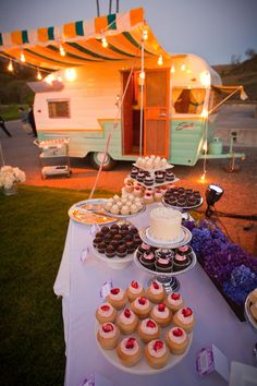 not sure what is sweeter, the trailer or the dessert table!