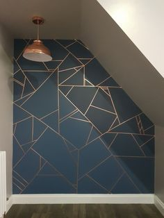 Geometric feature wall design Geometric feature wall design,♀️ ok. Geometric feature wall copper and Farrow and Ball Stiffkey Blue Related posts:- diy decorWilo & Grove, la galerie réinventée - The. Room Wall Painting, House Painting, Tape Painting, Wall Paintings, Geometric Wall Paint, Geometric Wallpaper, Feature Wall Design, Feature Walls, Blue Feature Wall Living Room