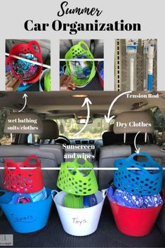 CAR ORGANIZATION hack for the summer with dollar tree supplies. How to organize your car for the summer with kid friendly organizational ideas. Car Cleaning Hacks, Car Hacks, Camping Hacks, Camping Supplies, Camping Essentials, Camping Ideas, Organisation Hacks, Car Organization Kids, Camping Organization