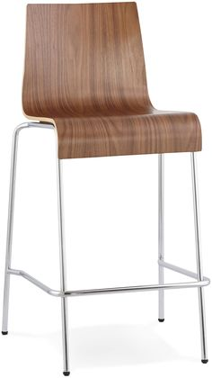 Nico Walnut Stainless Steel Small Bar Stool - (Set of - available to buy online or at Choice Furniture Superstore UK on stockist sale price. Get volume - discount with fast and Free Delivery. Small Bar Stools, Stackable Stools, Kokoon Design, Chaise Bar, Small Bars, Structure Metal, Decoration Design, Stainless Steel, Flooring