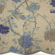 ANTIQUE FLORAL QUEEN QUILT 3p SET SCALLOPS! BIRD KHAKI BLUE COLONIAL FULL COTTON #AmericanMills #Colonial