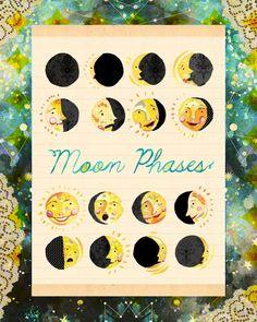 Moon phases artwork by Katie Daisy (www.KatieDaisy.com)