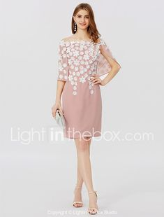 Sheath   Column Off Shoulder Short   Mini Chiffon Cocktail Party Dress with  Pleats Flower by f5083e82c