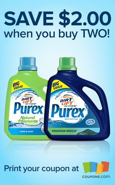 PRINTABLE COUPON: Save $2.00 when you buy two Purex laundry detergents!