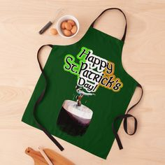 "...give someone a lift this year with this ""Happy St.Patrick's Day!"" Apron by Irish-Nostalgia | Redbubble #irishgifts #stpatricksday #irish #ireland #irishkitchen #irishcooking #irishchef #coddle #patrick #happystpatricksday #aprons #kitchenwear #cookery #irishstout #irishflag #irishnoveltygifts #dublin #templebar #connemara #liftyourspirits Coddle, Connemara, Happy St Patricks Day, Novelty Gifts, Aprons, Dublin, Print Design, Ireland, Irish"