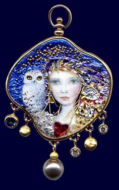 Enamels by Mona & Alex Mona Szabados but I love the owl and the haunting quality of the painting