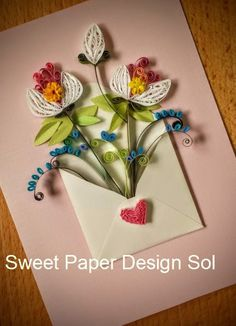 Paper Quilling  Flower bouquet in Envelope - Wedding , bridal shower,love card,Mothers day,Happy Birthday,Congratulations , Anniversary Card