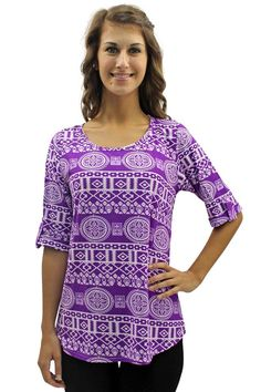 Aztec Tribal Print Top With 3/4 Sleeves