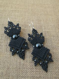 Black micro macrame earrings with Hematite stones
