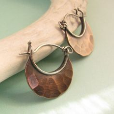 Forged Copper And Sterling Silver Hoop Earrings by Mocahete