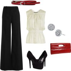 Love the wide leg trousers and the punch of red, but I would have to do a lower heel.