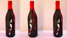 Easy women face drwaing on a bottle /Easy craft ideas/ Bottle craft ideas Beer Bottle Crafts, Wine Bottle Art, Diy Bottle, Painted Glass Bottles, Pottery Painting Designs, Bubble Art, Bottle Painting, Craft Ideas, Easy Diy